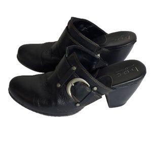 B.O.C.  Black Leather Clog Mules Size 9
